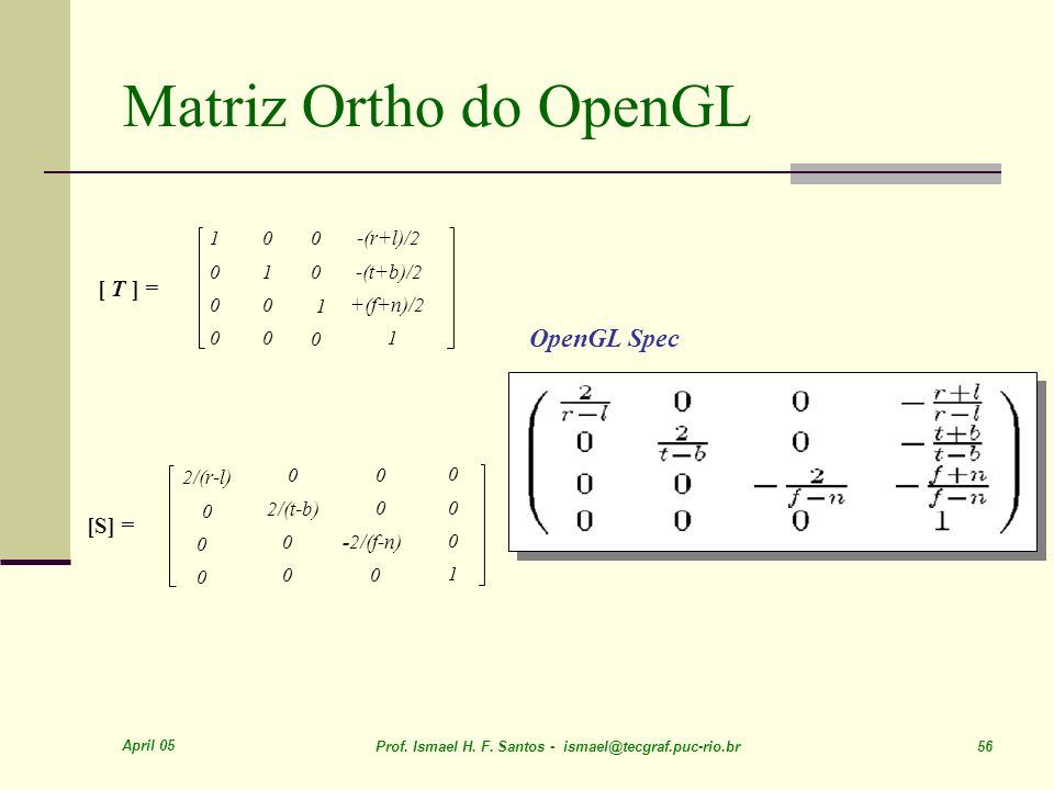 Matriz Ortho do OpenGL OpenGL Spec [ T ] = [S] = -(r+l)/2 -(t+b)/2 1